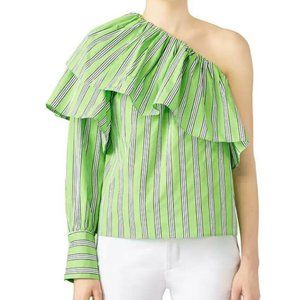 MSGM Womens Green Pullover Basic Blouse Size 42